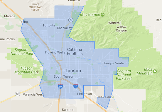 Tucson pool service map